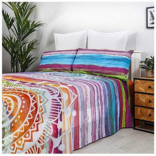 COTTON ARTean Set di lenzuola Mandala acquerello letto da 160 x 190/200, 50% cotone, 50% poliestere.