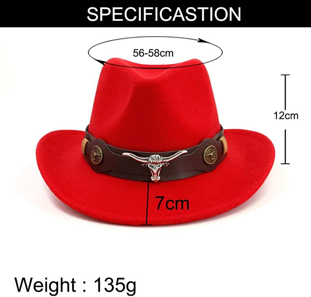 GEPIJPGEKH Mens Felt Western Cowboy Hat Retro Fedora Outdoor Wide Brim Jazz Hat with Bull Skull Decor for Vacation Holiday