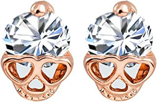 Sterling Silver plated &Rose 18K Gold Plated Cubic Zirconia Love heart Eyes Skull Head Charm Stud Earring