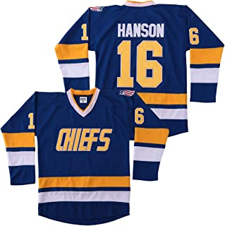 Jack Hanson #16 Brothers Charlestown Chiefs Jersey Slap Shot Movie Hockey Charleston Blue