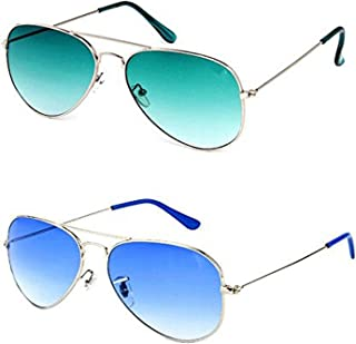 689ccf21d2fe Y&S Combo Pack of UV Protected Aviator Unisex Sunglasses (YS-OC17_GrnGrdnt-SilverBlue)