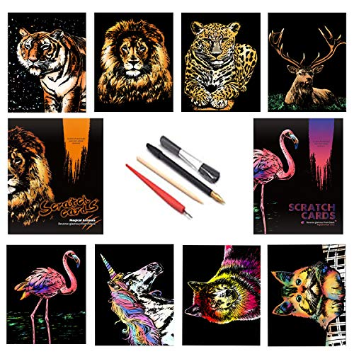 Scratch Painting Rainbow Paper Sketch Pads,City Series Night View,Dessin Enfant Adulte Art Créatif Tableaux à Gratter Peinture à Gratter
