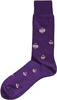 PAUL SMITH Mens Cotton Socks Purple & Multicoloured Polka Dots One Size