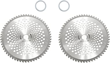 Wisamic 10 inch 60T Carbide Blade Tip with Washer Brush Cutter Trimmer Weed Eater Blade-2 Pack