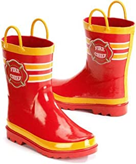 Fire Chief Boys Red Rain Boots (7/8 US Toddler)