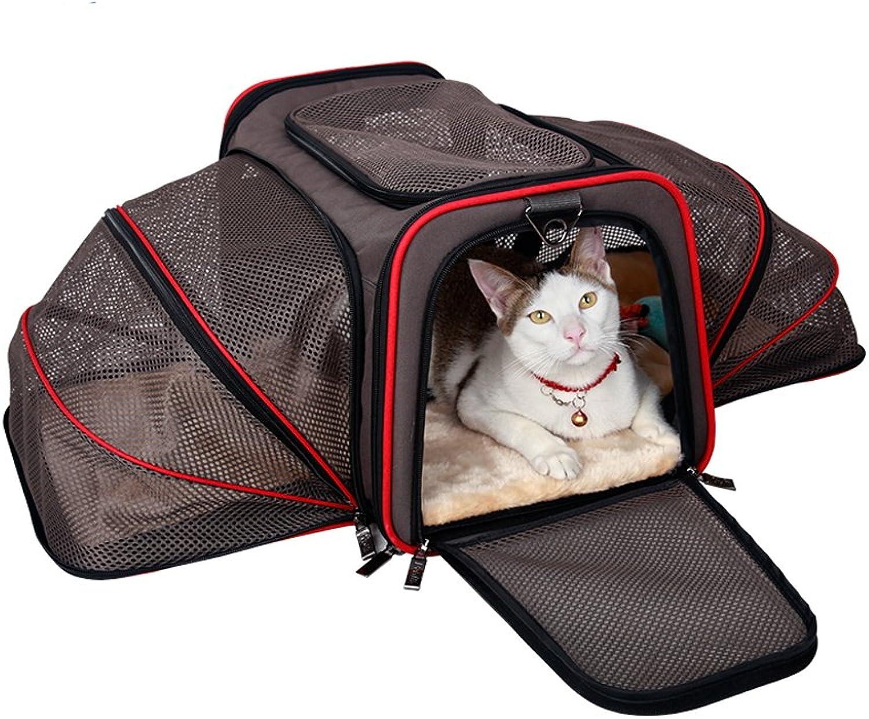 Expandable Pet Bag Collapsible Pet Carrier Bag Breathable Backpack (Asphalt Ash Suitable For 5Kg7Kg Pet)