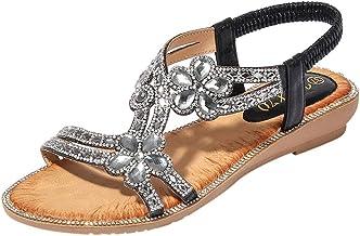 Sandalias Planas Mujer Lanskirt Zapatillas Casa Mujer Verano Elegantes Zapatos Casuales de Playa de Verano de Bohemia Calzado de Cristal Flor de Bling para Niña