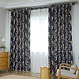 windsonmd Vollverdunkelungsvorhänge Schlafzimmer Wohnzimmer Schallschutzfenster Bucht tragbar und langlebig Mode vielseitige Mischung Gold 2,0 * 2,7 m-2,0 x 2,0 m Dunkelblau (B-Seite)