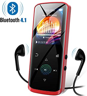 Mp3 Player, 8GB Music Player with Bluetooth, Built-in Speaker, Portable HiFi Lossless Sound Music Player with FM Radio Voice Recorder, Touch Button with Screen, Support up to 128GB(Red)