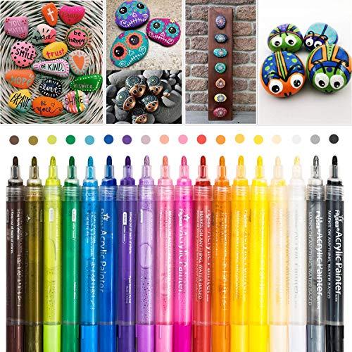 Pennarelli per pittura su pietra, 18 colori, impermeabili, per dipingere pietre, colori acrilici per bambini, fai da te, ceramica, vetro, porcellana, metallo, plastica, legno, tela, punta da 2-3 mm