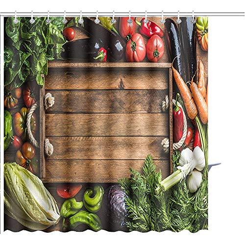 D-M-L Duschvorhang Frisches Rohes Gemüse Zutaten Für Ges&es Kochen Oder Salat Mit Rustikalen Holztablett In Polyester Badezimmer 122X183CM