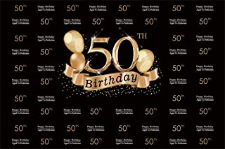 YEELE Black and Gold 50th Birthday Backdrop 10x8ft Step and Repeat Fifty Years Old Photography Background Lady Madam Birthday Photo Booth Artistic Portrait Dessert Table Photoshoot Digital Wallpaper