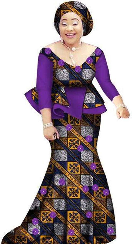 African Prom Dress for Women 2Piece ONeck Dashiki Cotton Wax Print Skirt X11054