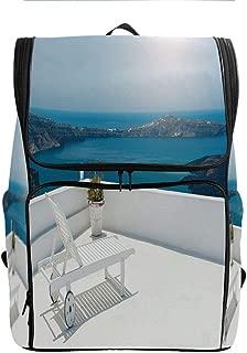 Printed Bookbag,Sunbed on Terrace White,Tear Resistant School Bag