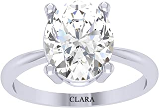 Clara 92.5 Sterling Silver White Gold Plated Oval Diamond Cut Zirconia Solitaire Ring for Women & Girls
