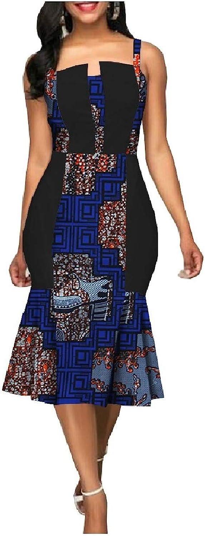 Baseby Womens African Wax Print Mermaid PlusSize Cami Dashiki Dresses