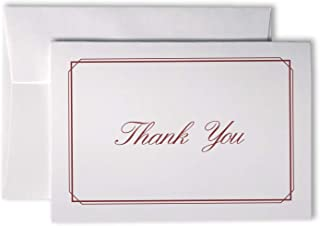 Elegant Striped Thin Border Thank You Cards - 48 Cards & Envelopes (Red)