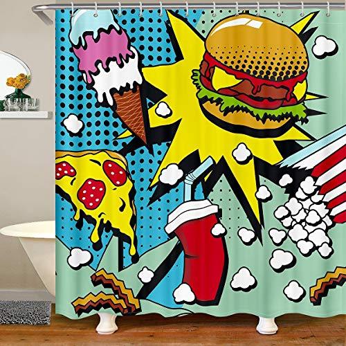 Hamburger Pizza Duschvorhang 180x210 für Kontroll Stände Badewannen Fast Food Themen Duschvorhang Textil Popcorn Cola Pop Art Bunt um mit 12 Haken