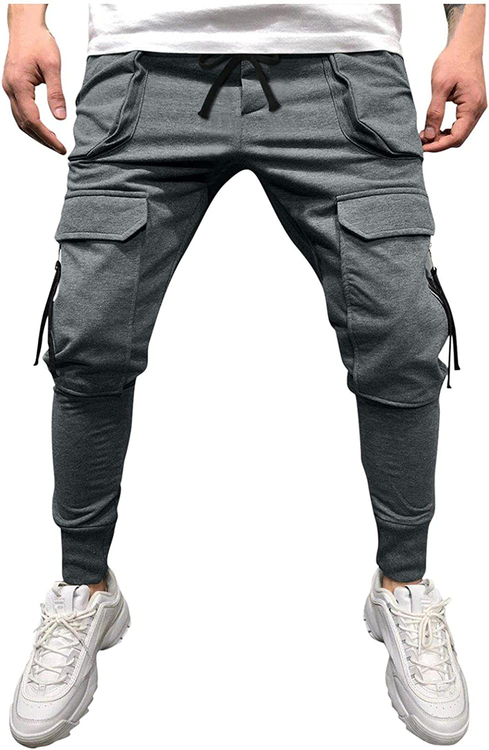 Beshion Sweatpants for Men Jogger Slim Casual Work Overalls Mid-Waist Drawstring Athletic Running Workout Pants with Pocket