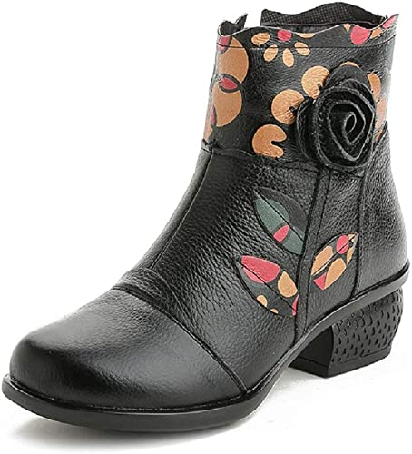 ZHRUI Stiefel Vintage damen Tobillo Estampado de Flores schuhe Suaves (Farbe   schwarz, tamaño   EU 36)