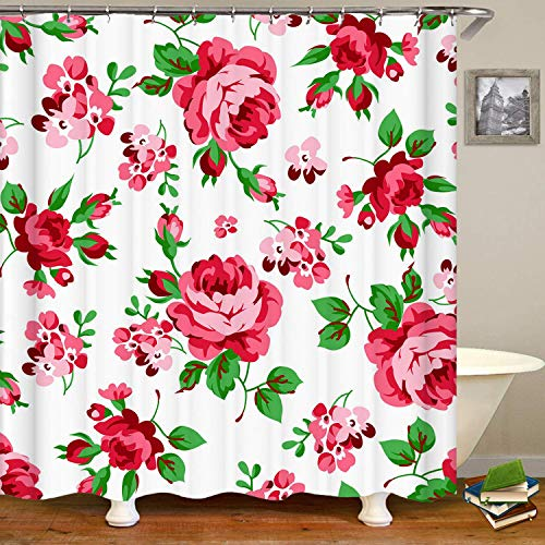 Haloxa Floral Pattern with Red Roses Shower Curtain,Waterproof Polyest