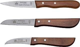 RÖR - Cuchillo de cocina (3 piezas, fabricado en Solingen, mango de madera de cerezo) acero.