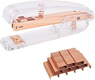DragonflyDreams Rose Gold Stapler Desktop Stapler with 1000 Pieces Silver Staples School Office Supplies Desk Accessory(Ro...