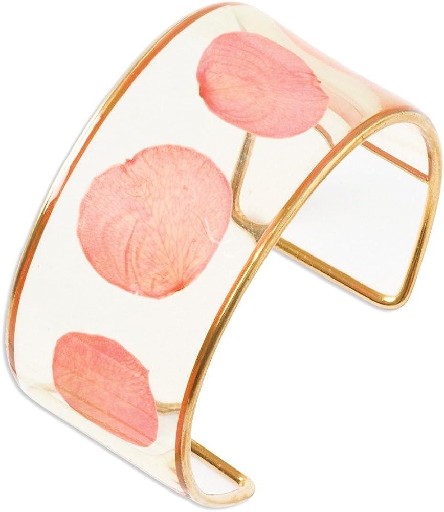 Sonia Jewels Gold-Plated Trim Pink Rose Petal Bangle Cuff Bracelet (Width = 29mm)