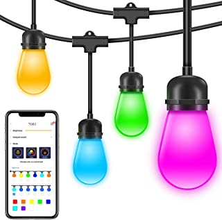 Govee Outdoor String Lights, 36 Feet Cafe Lights with APP, Dimmable Color Changing Waterproof Hanging Light for Patio, Fence, Backyard, Wedding, Party 12 Bulbs(Not Connectable)