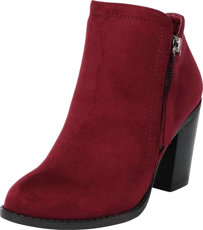 Cambridge Select Women's Closed Toe Western Tassel Zip Chunky Stacked Block Heel Ankle Bootie