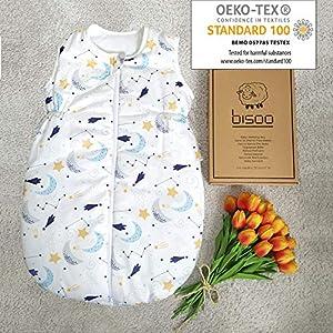 BISOO Saco de Dormir Bebe Invierno 2.5 TOG 100% algodón – Certificado Oeko-Tex – Unisex para Bebés – Longitud Ajustable…