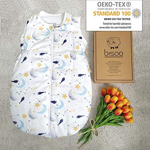 BISOO Saco de Dormir Bebe Invierno- 2.5 TOG 100% algodón - Certificado Oeko-Tex - Unisex para Bebés - Longitud Ajustable para Bebé (0-6 Meses (70cm), Estrellas)