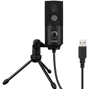 FIFINE ファイファイン USB コンデンサーマイク PC PS4 通話用 Skype 配信 単一指向性 音量調節可能 マイクスタンド付属 Windows/Mac対応 ブラック K669B