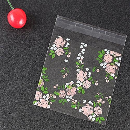 INGHU 100 Stks/zak Cookie Tas, Fresh Clear Rose Patroon Handgemaakte Zeep Packing Tassen, Zelfklevende tas Candy Cookie Tas, Gift Packing Tassen Ornament Pakket Tas