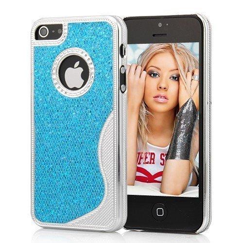 Cover Housse de protection des bornes pour Apple iPhone 5 femmes élégants chics femelle de cas de fille bleu et paillettes brillant de téléphone portable de cas de téléphone portable