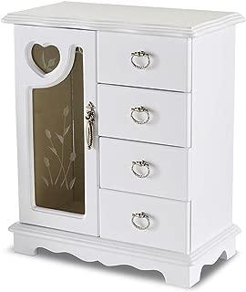 Jaclyn Smith White Wood Organizer Glass Door Jewelry Box