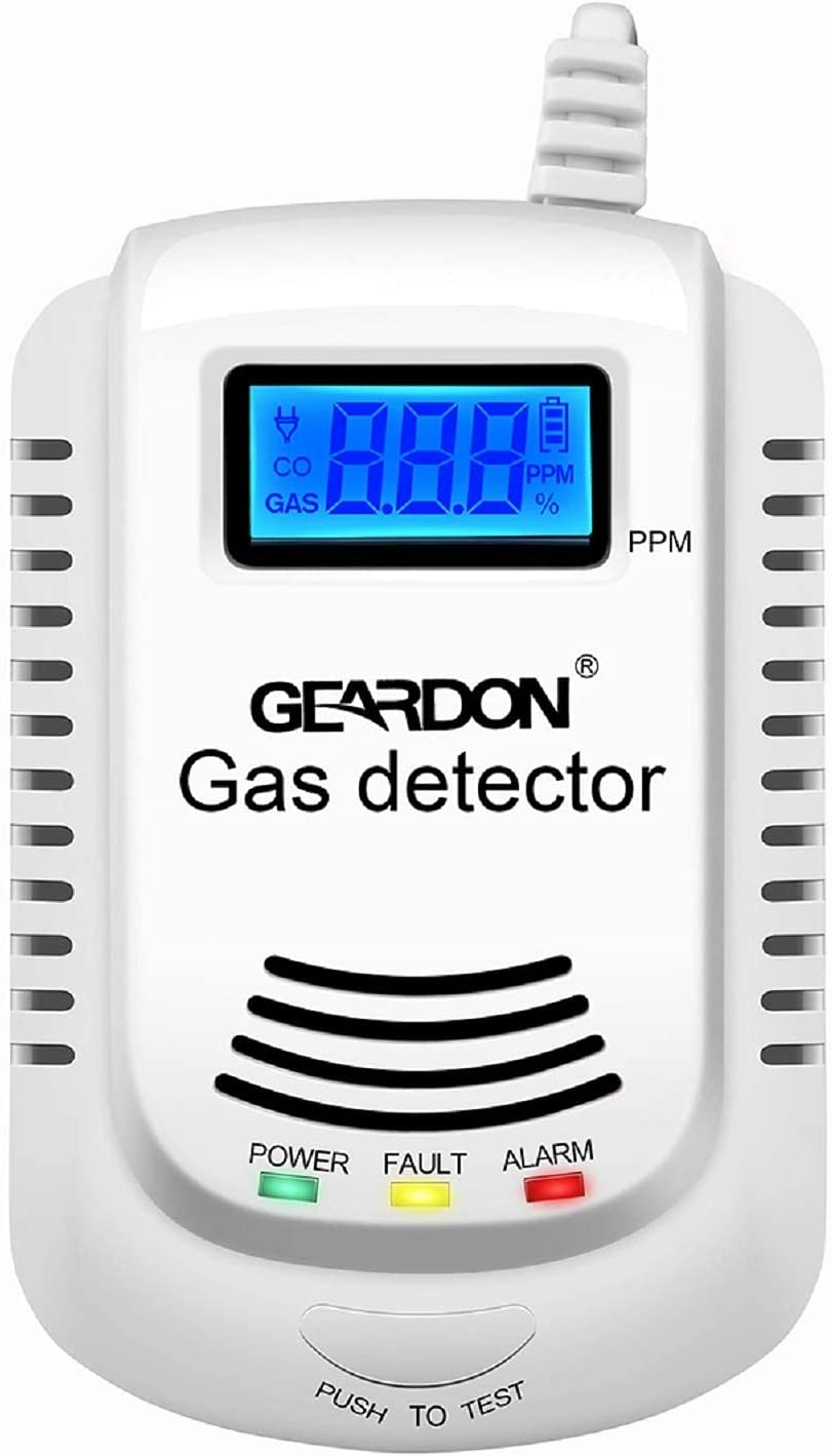 Gas Detector, Rechargeable 4 in 1 Portable Gas Detector Air Quality Tester Monitor Meter Tester Analyzer with LCD Display Sound Light Shock and Voice Promp (White)