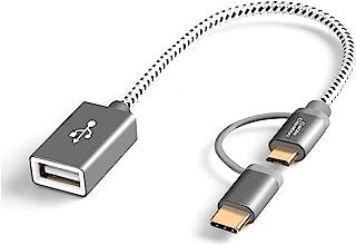Micro USB + Type C to USBアダプタ, CableCreation ショートOTG(On-The-Go)ケーブル Pixel XL 2 / Galaxy S9/S9+など対応 0.18m スペースグレー