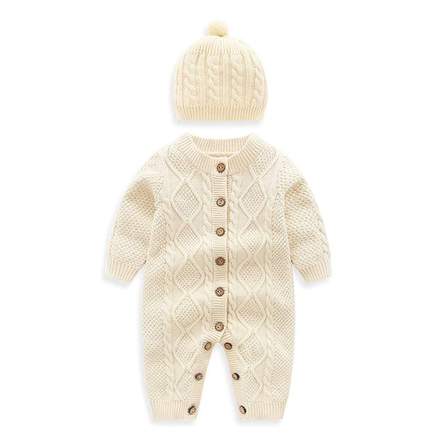 Auro Mesa Newborn Baby Knit Romper with hat Beige Infant Baby Knitted Clothes Baby Onsie (80cm (12-18M))