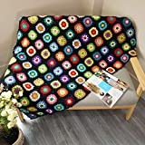 Handmade Crochet Throw Blanket Granny Blanket Sweater Style Year Round Gift Indoor Outdoor Travel Accent Throw for Sofa Comforter Couch Bed Recliner Living Room Bedroom Decor 59' x39' (Black)