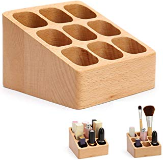 CONRAL Women Makeup Organiser Container Holder, Ladies Girls Lipstick, Eyebrow Pencil Jewelry Nail Polish Cosmetic Brush Organizer Box, Display Shelf, Wood Material
