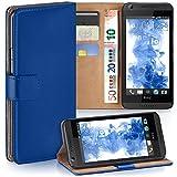 MoEx® Booklet mit Flip Funktion [360 Grad Voll-Schutz] für HTC Desire 626G | Geldfach & Kartenfach + Stand-Funktion & Magnet-Verschluss, Dunkel-Blau