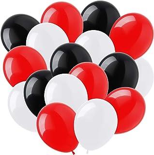Hileyu 100pcs Ballon Rouge et Noir Ballons Rouges Blancs et Noirs Ballons d'anniversaire Noirs Ballons d'hélium en Latex B...