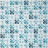 見た目は普通のタイル 3Dはがせるシール カンタンシール 工具不要 水、モザイクタイルシール、熱に強い 曲面にも貼れる キッチン、洗面所、トイレの飾りに6枚セット(1枚サイズ25.4X25.4CM) (6枚, 青い地中海)