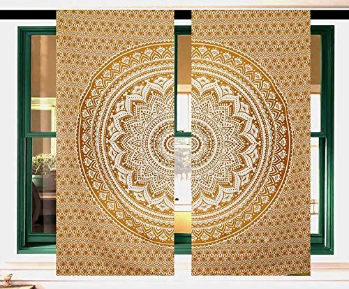 Future - Cortinas decorativas hechas a mano con diseño de mandala indio para puerta o ventana, algodón tela, Design 10, 2x W42