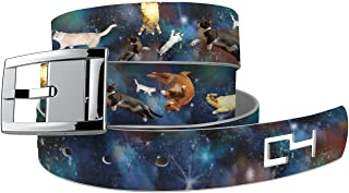 C4 Design Belt: Space Cats Strap with Silver Chrome Buckle - Fashion Belt - Waist Belt for Women and Men