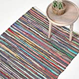 HOMESCAPES Chindi-Teppich, handgewebt aus 100% recycelter Baumwolle, 120 x 180 cm, Flickenteppich mit bunten Streifen