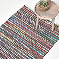 HOMESCAPES - 100% Recycled Cotton Chindi Rug - 60 x 90 cm - 2 ft x 3 ft - Multi Coloured Stripes on ...
