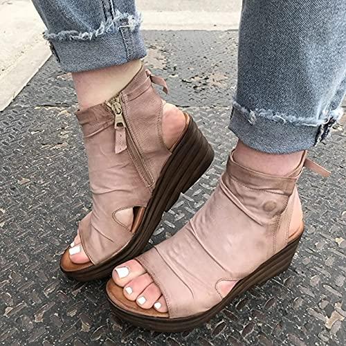Tyfiner Sandalias Mujer Verano Sandalias de Cuña con Cremallera Lateral Punta Abierta Cuero Fondo Plano Zapatos Romanas Zapatos de Vacaciones Antideslizantes de Ocio,002,42EU