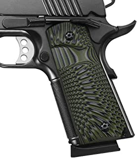 Coolhand 1911 Grips in G10 with Screws, Full Size, Big Scoop, Ambi Safety Cut, Sunburst Texture